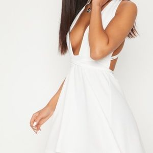 White Wrap Skater Dress